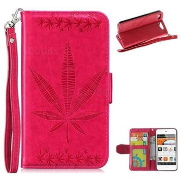 Intricate Embossing Maple Leather Wallet Case for iPod Touch 5 6 - Rose