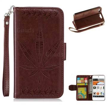 Intricate Embossing Maple Leather Wallet Case for iPod Touch 5 6 - Brown