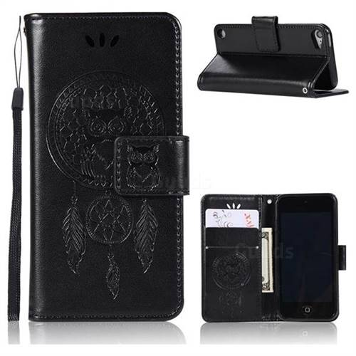 Intricate Embossing Owl Campanula Leather Wallet Case for iPod Touch 5 6 - Black