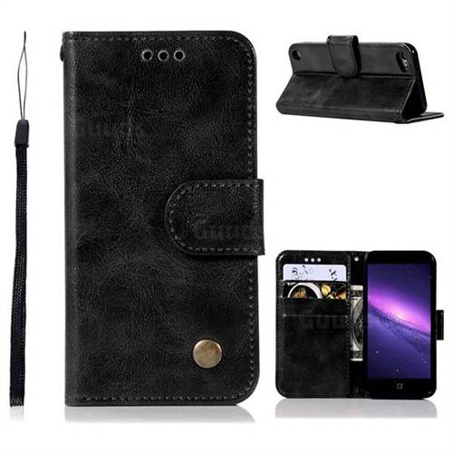 Luxury Retro Leather Wallet Case for iPod Touch 5 6 - Black