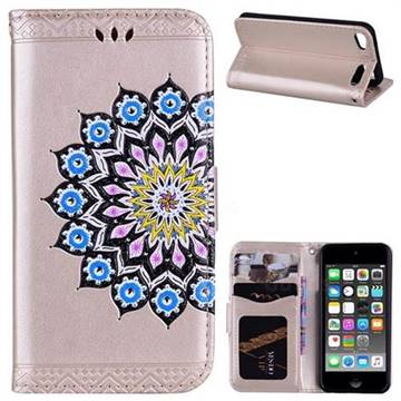 Datura Flowers Flash Powder Leather Wallet Holster Case for iPod Touch 5 6 - Golden