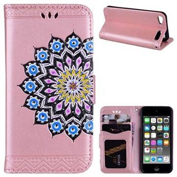 Datura Flowers Flash Powder Leather Wallet Holster Case for iPod Touch 5 6 - Pink