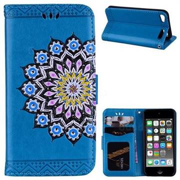 Datura Flowers Flash Powder Leather Wallet Holster Case for iPod Touch 5 6 - Blue
