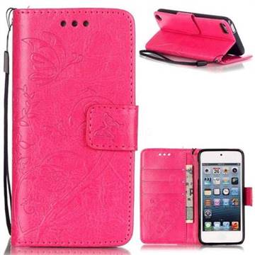 Embossing Butterfly Flower Leather Wallet Case for iPod Touch 5 6 - Rose