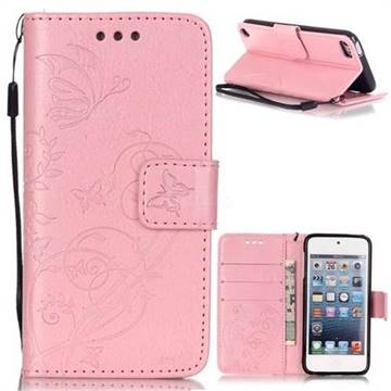 Embossing Butterfly Flower Leather Wallet Case for iPod Touch 5 6 - Pink