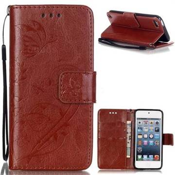Embossing Butterfly Flower Leather Wallet Case for iPod Touch 5 6 - Brown