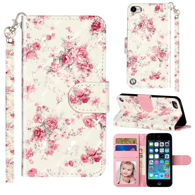 Rambler Rose Flower 3D Leather Phone Holster Wallet Case for iPod Touch 5 6