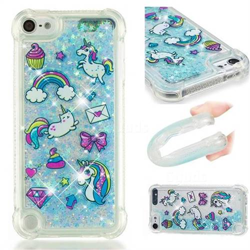 Fashion Unicorn Dynamic Liquid Glitter Sand Quicksand Star TPU Case for iPod Touch 7 (7th Generation, 2019)