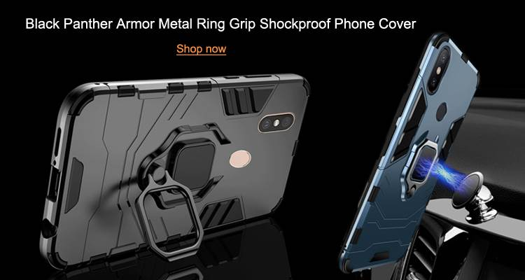 Wholesale Black Panther Armor Metal Ring Grip Shockproof Dual Layer Rugged Hard Cover Guuds