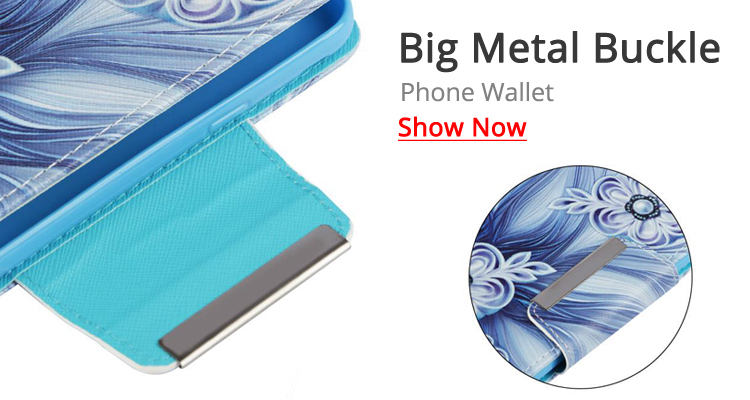 Guuds Big Metal Buckle PU Leather Wallet Phone Case