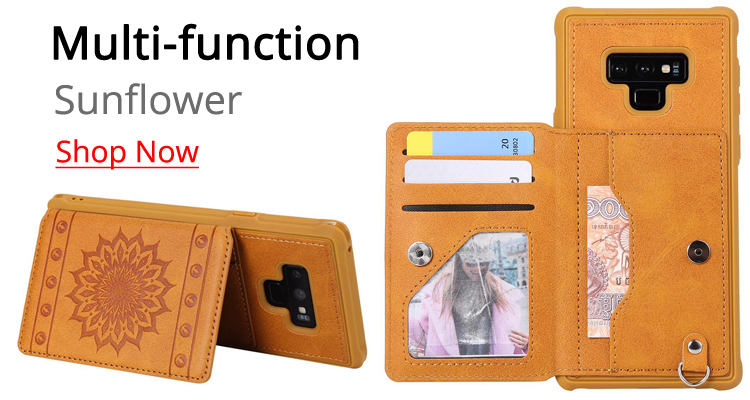 Luxury Embossing Sunflower Multifunction Leather Back Cover