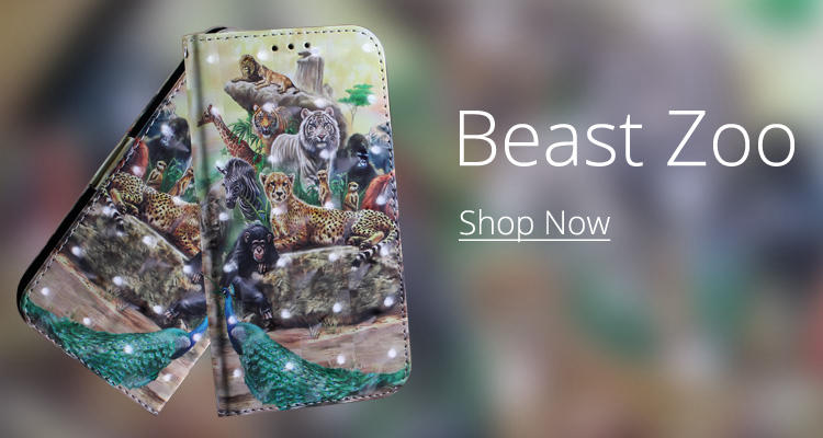 Wholesale Beast Zoo 3D Painted Leather Wallet Phone Case