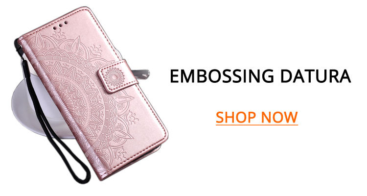 Wholesale Intricate Embossing Datura Leather Wallet Case