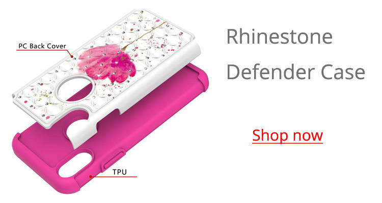Wholesale Studded Rhinestone Bling Diamond Shock Absorbing Hybrid Defender Rugged Phone Case Cover