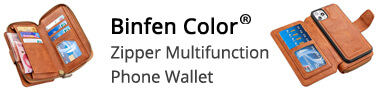 Guuds Wholesale Binfen Color Retro Buckle Zipper Multifunction Leather Phone Wallet