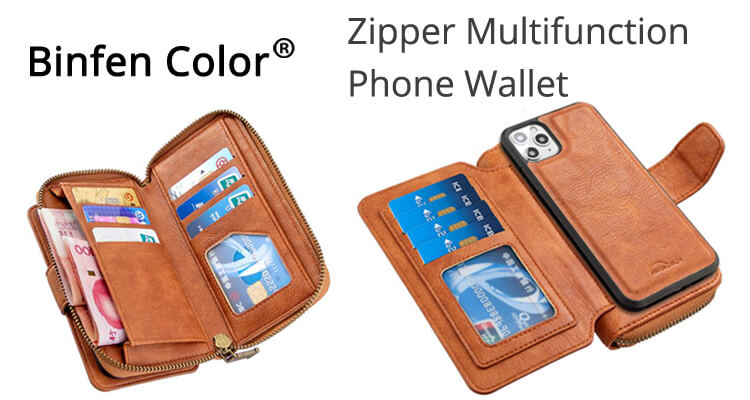 Wholesale Binfen Color Retro Buckle Zipper Multifunction Leather Phone Wallet
