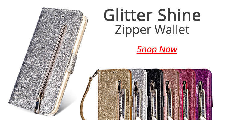 wholesale Glitter Shine Leather Zipper Wallet Phone Case